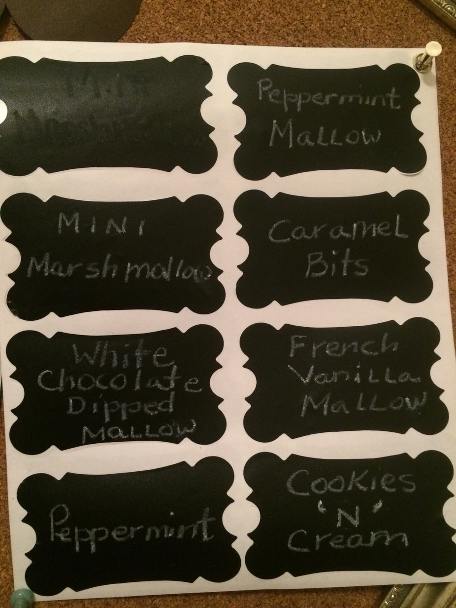 Chalkboard labels