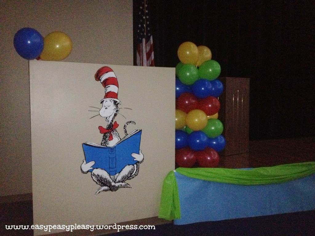 Dr. Seuss Cat in the Hat stage decoration