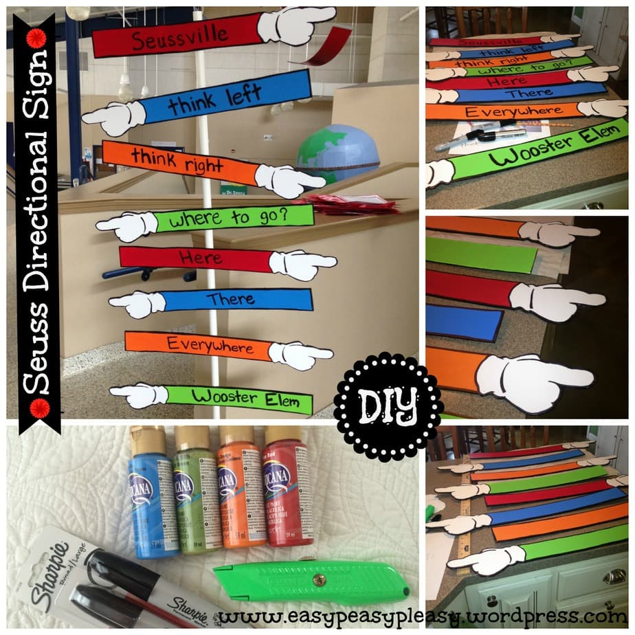 Dr. Seuss DIY Direction Sign Collage