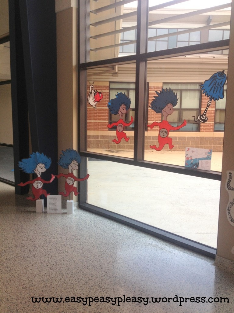 Dr. Seuss Thing 1 & Thing 2 School Decorations using an overhead projector.