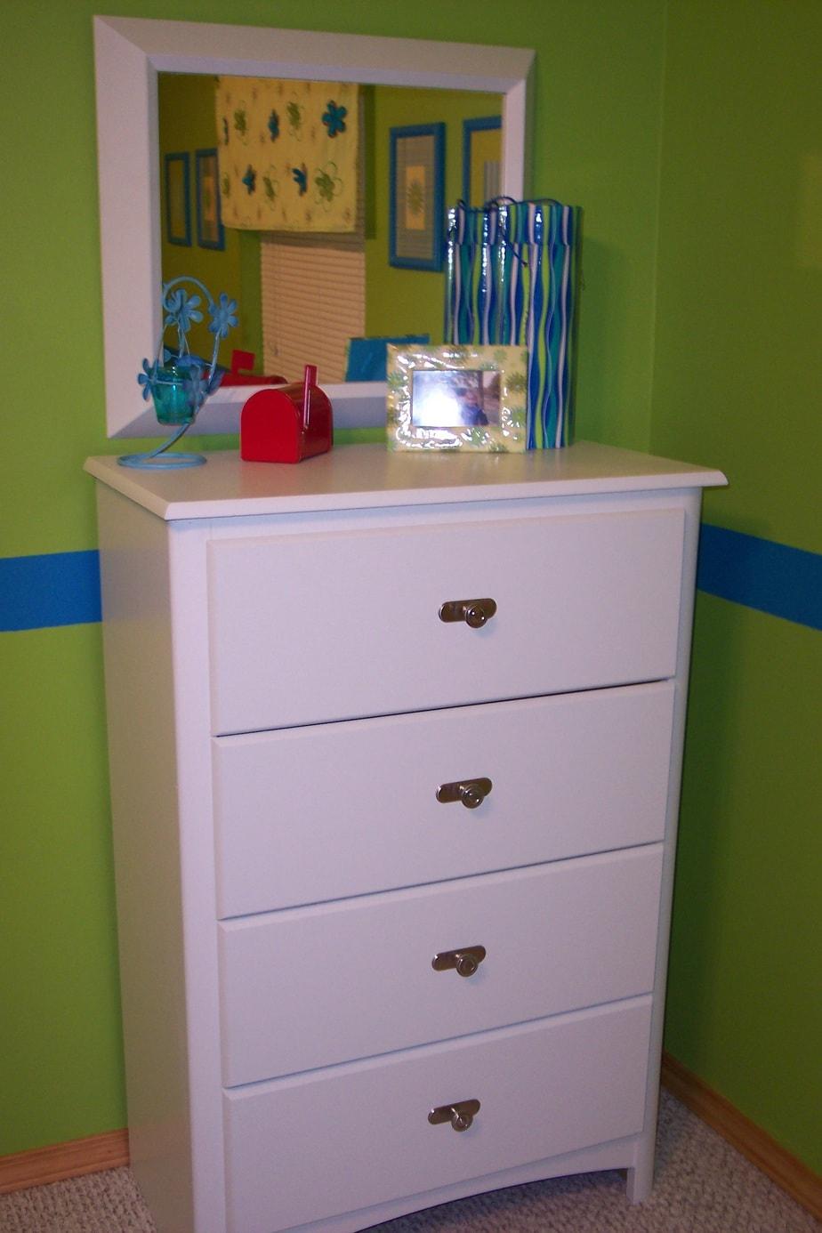 Girls bedroom on a budget repainted dresser