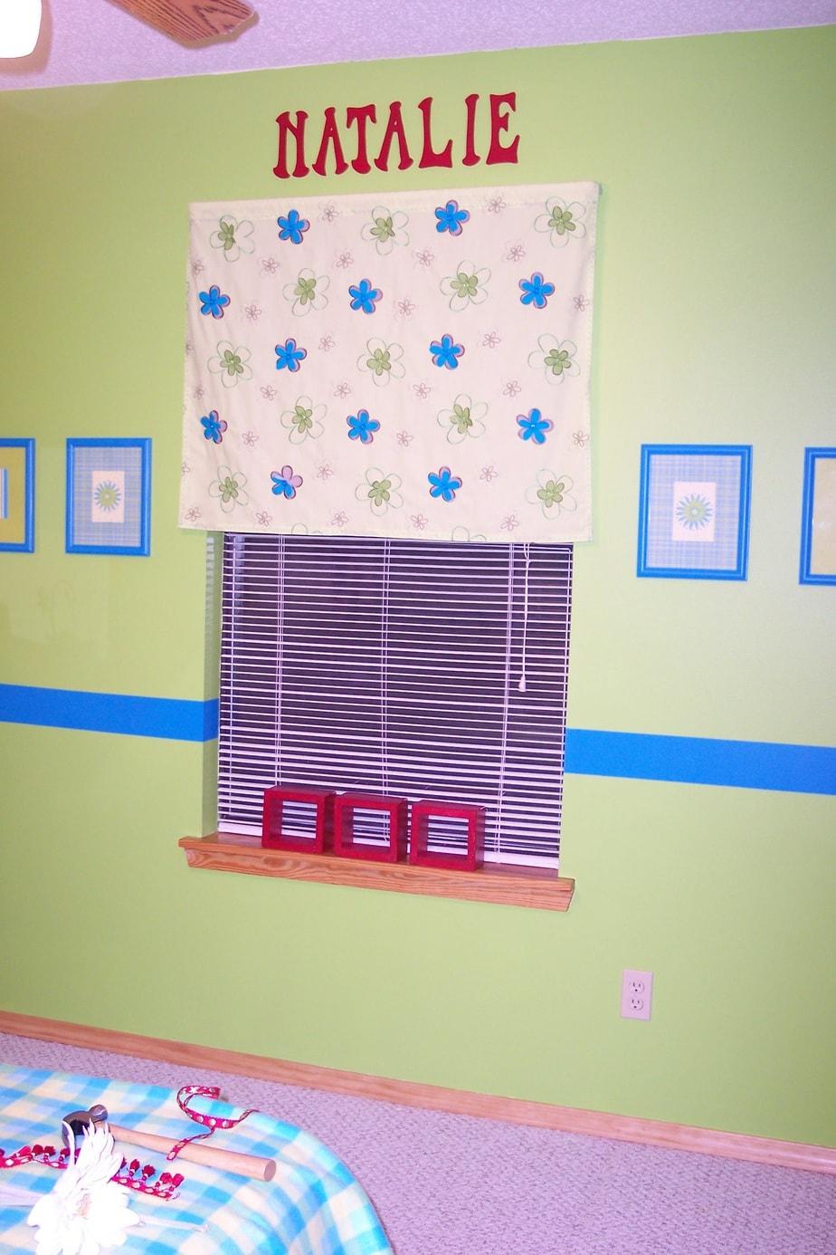 Girls bedroom on a budget window valance