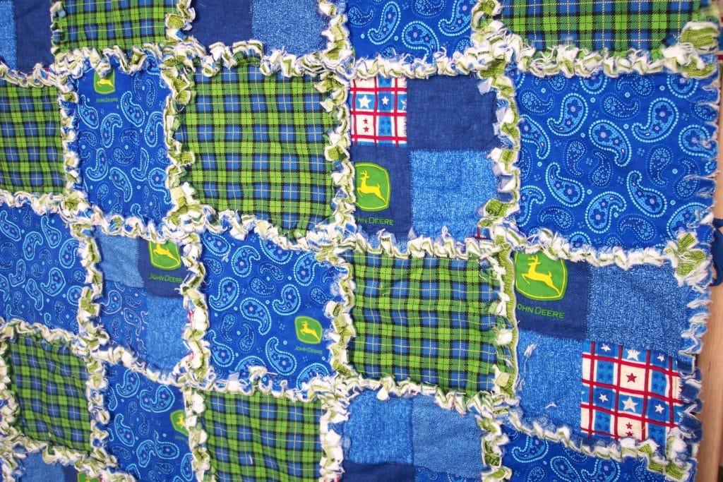 John Deere crib rag quilt