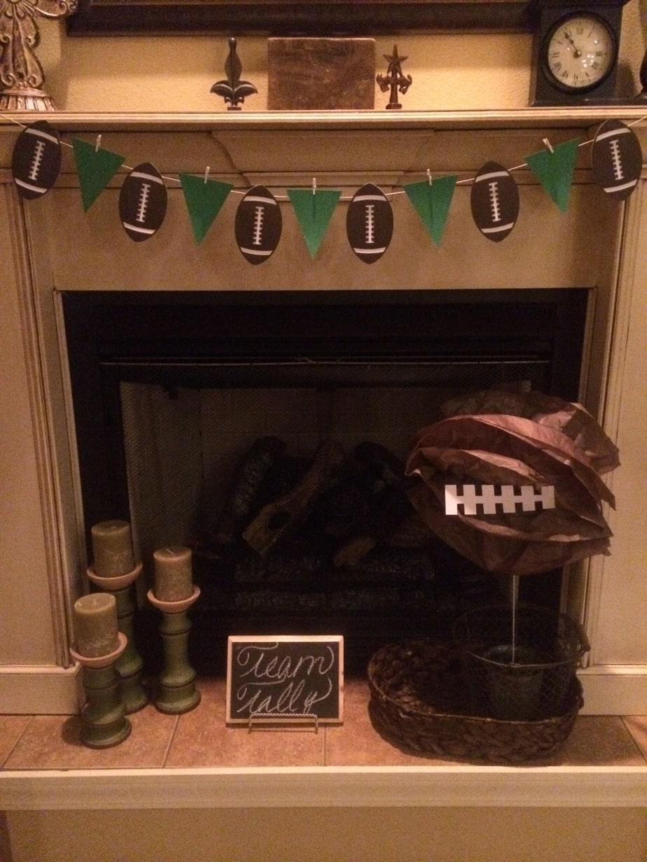 Super Bowl Football Birthday Party fireplace decor banner