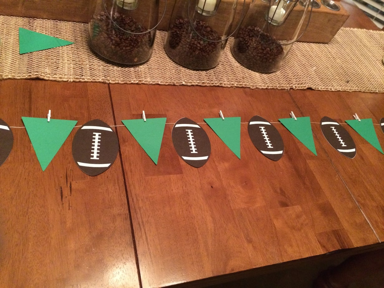 Super Bowl Football Birthday Party football pennant banner in the making