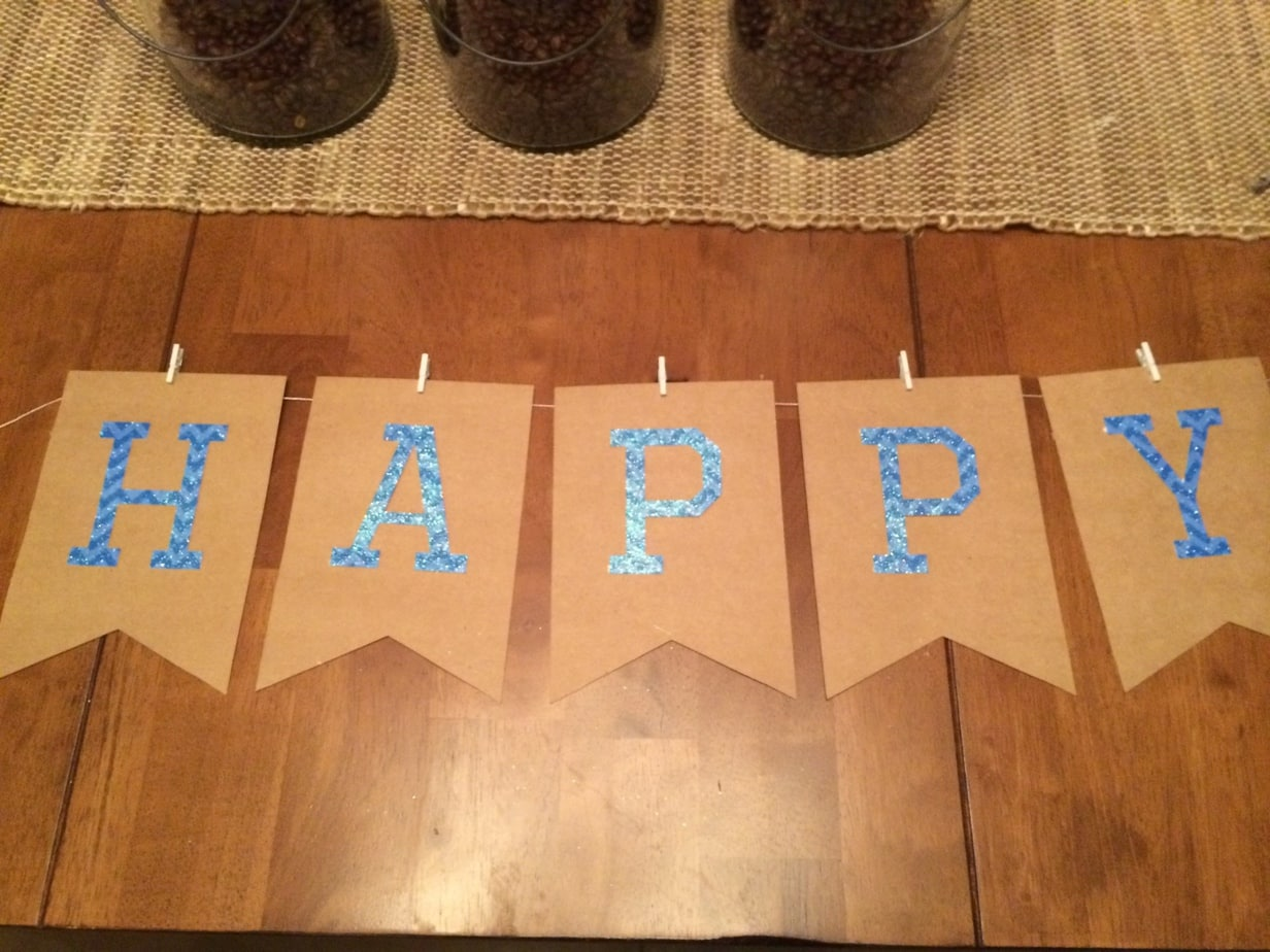 Super Bowl Football Birthday Party pennant banner in the making