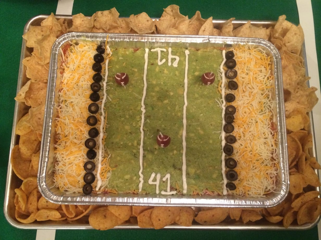 Super Bowl Football Birthday Party seven layer dip football field