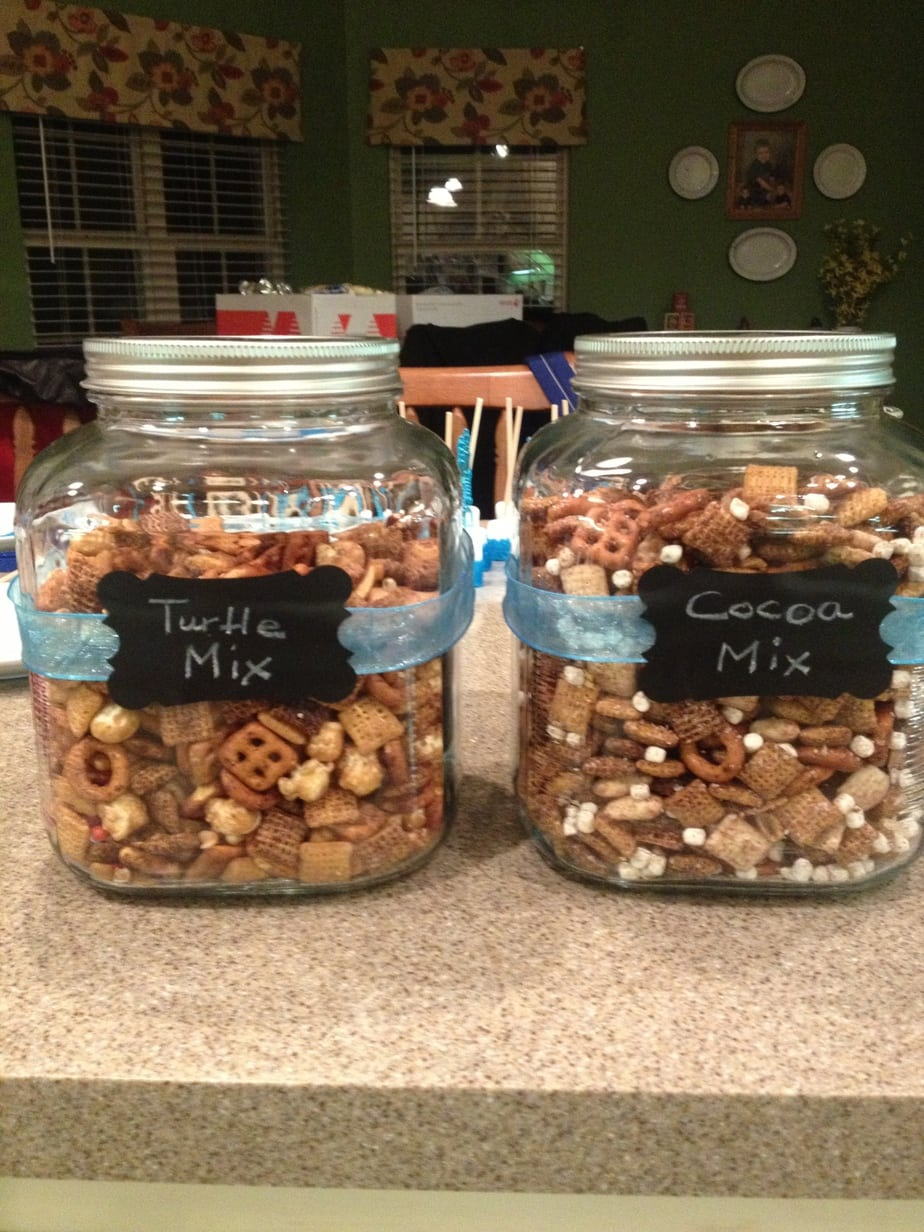 Teachers Lounge Winter hot chocolate bar chex mix