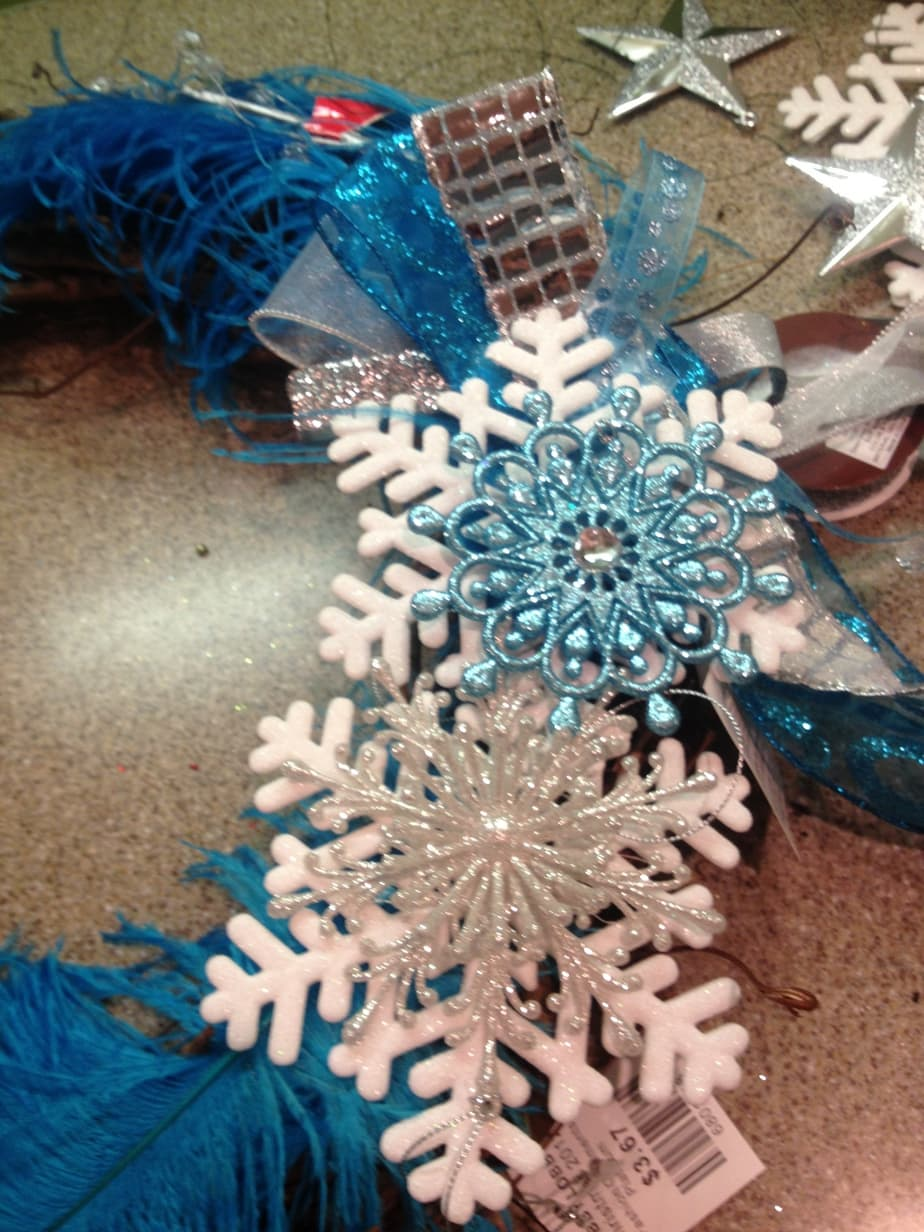 Teachers Lounge winter wreath feathers