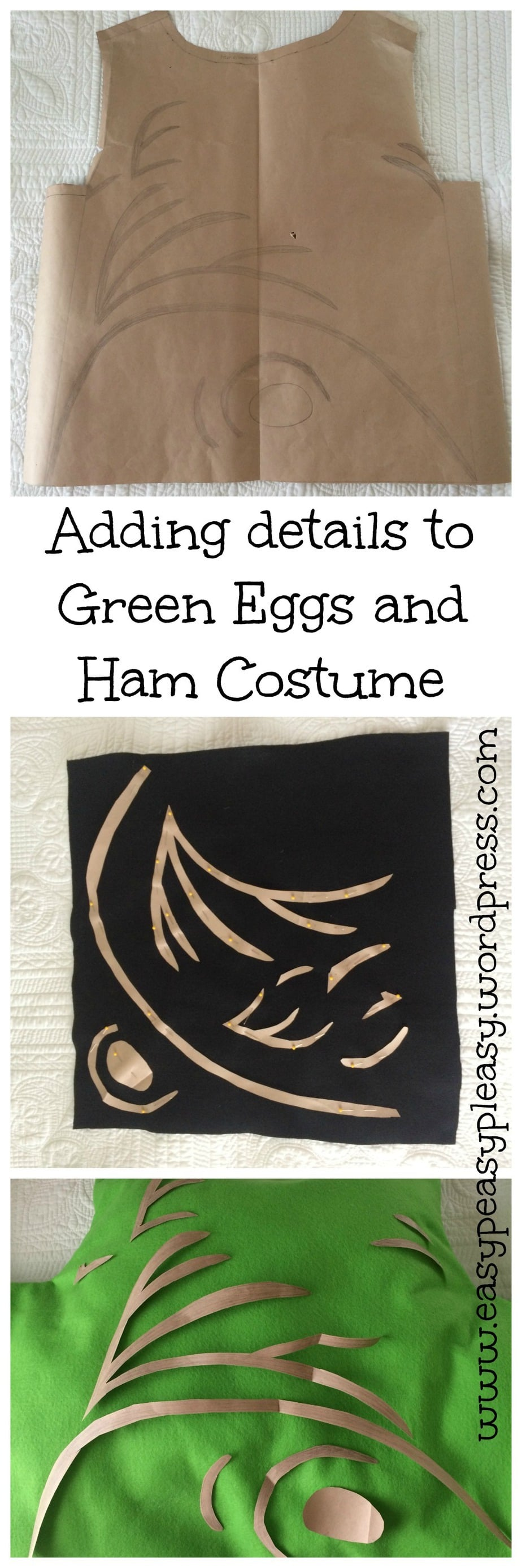 Adding details to Dr. Seuss's Sam I am Green Eggs and Ham Costume. Full directions at https://easypeasypleasy.com