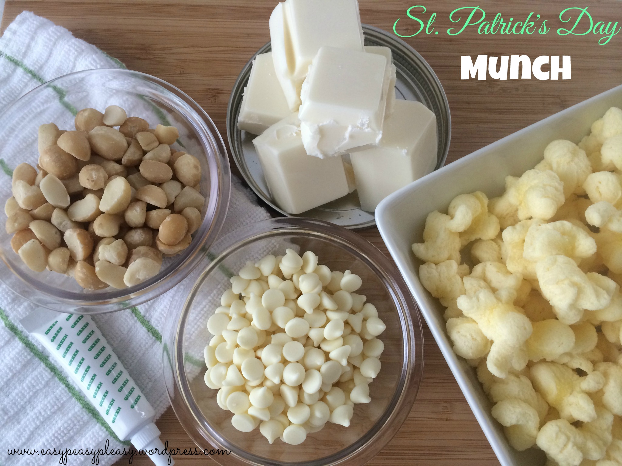 Come check out how to use these simple ingredients to make St. Patrick's Day Munch at https://easypeasypleasy.com