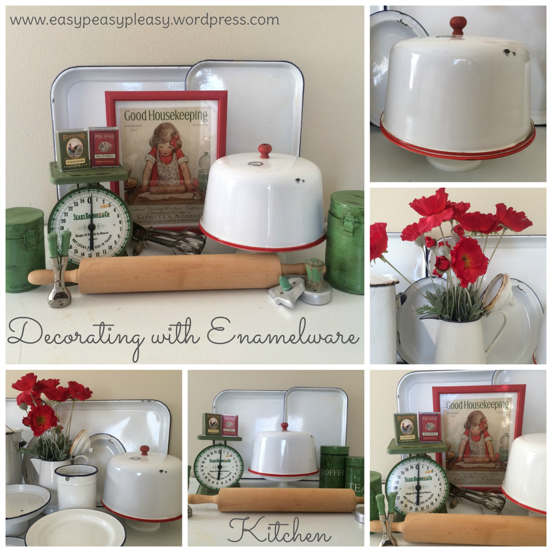 Decorating with Enamelware in the Kitchen ideas at https://easypeasypleasy.com