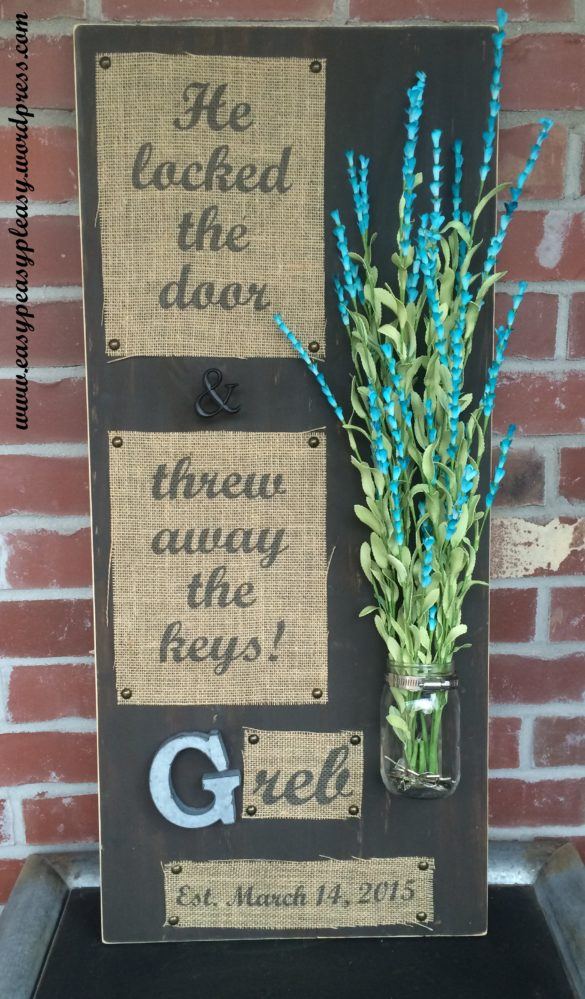 DIY Wedding Gift Wooden Sign With Mason Jar And Print On Burlap