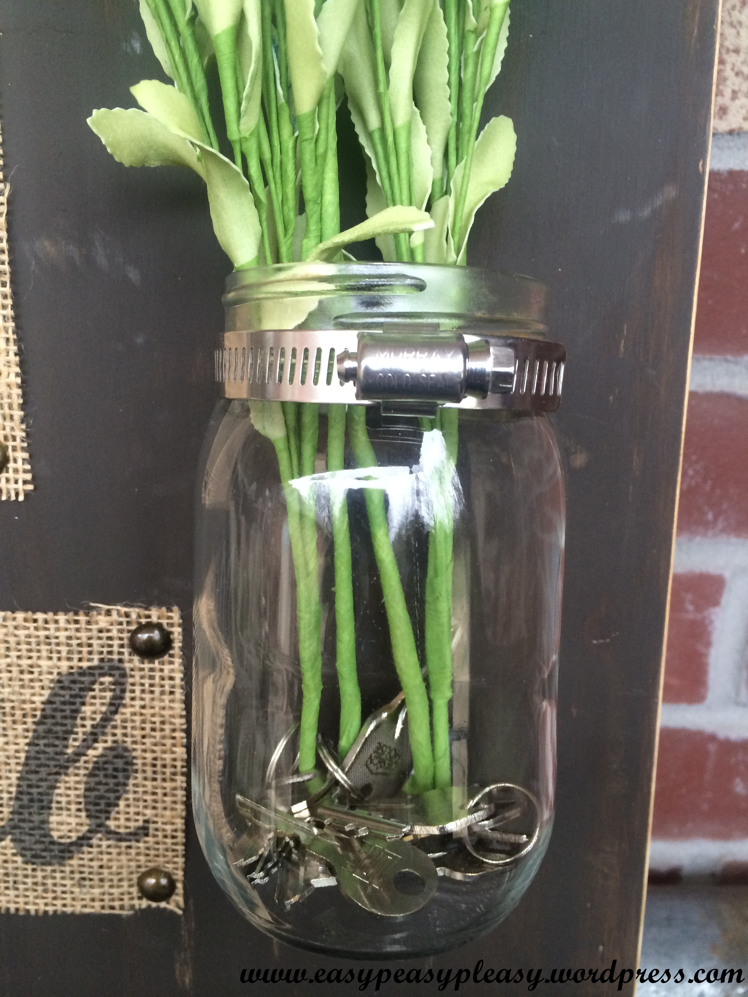 DIY Wedding Gift using a Mason Jar and a Plumbing Clamp