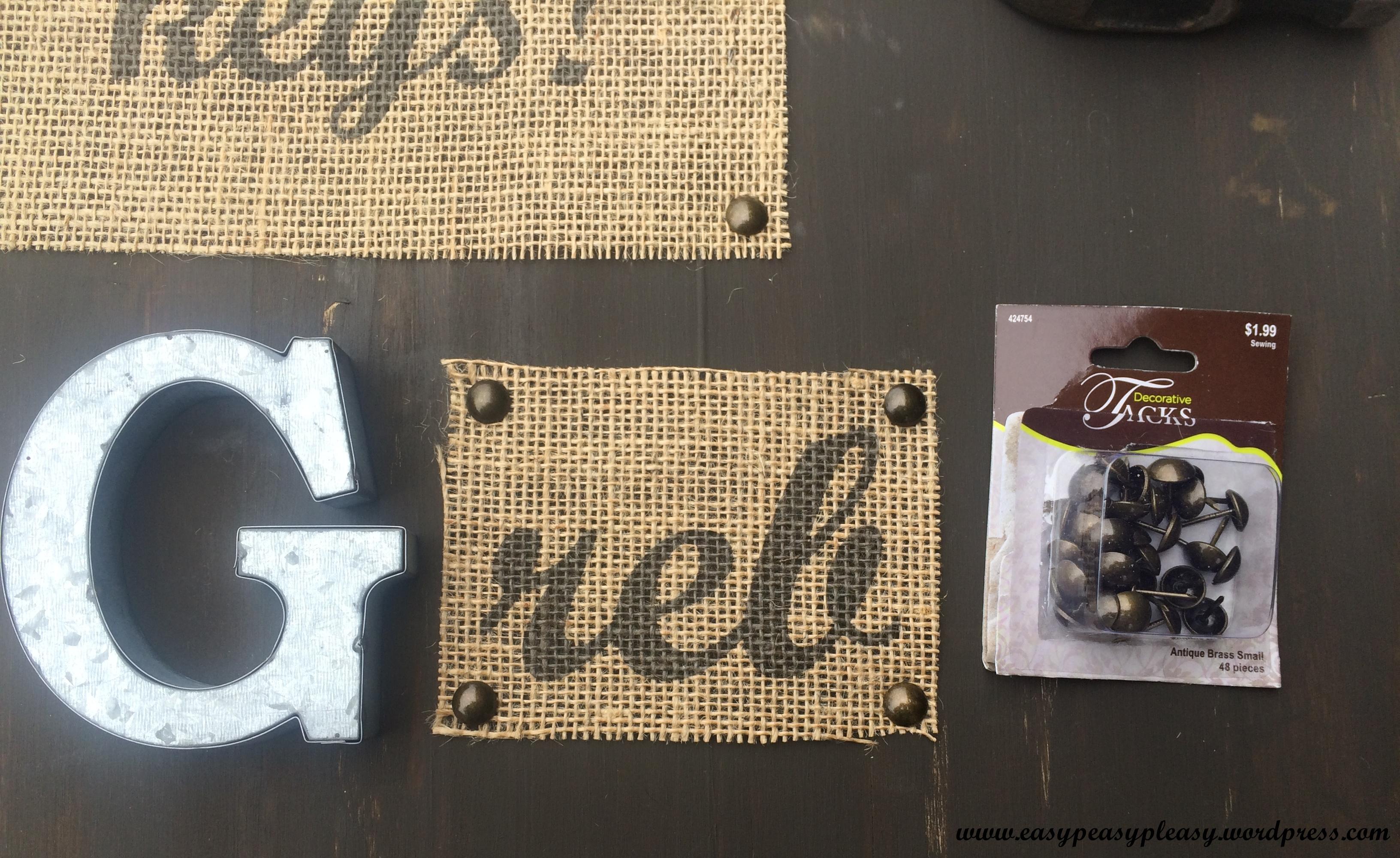DIY Wedding Gift using Decorative Tacks and Burlap