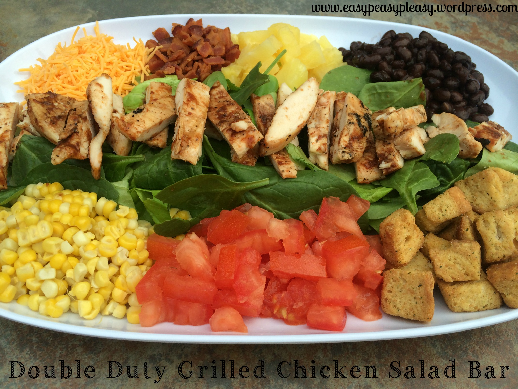 Double Duty Grilled Chicken Salad Bar on a platter idea at https://easypeasypleasy.com