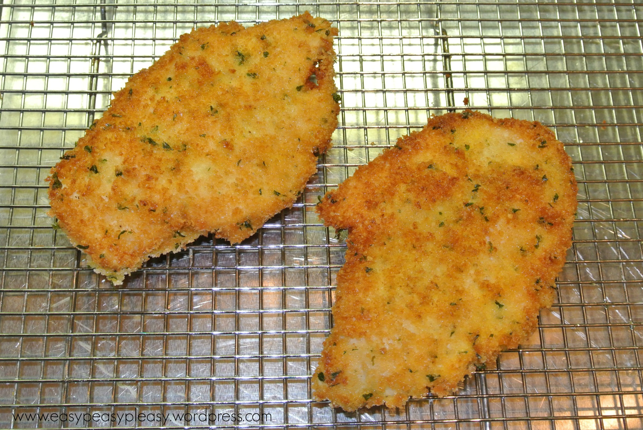 Dredged and Breaded Chicken Cutlets at https://easypeasypleasy.com