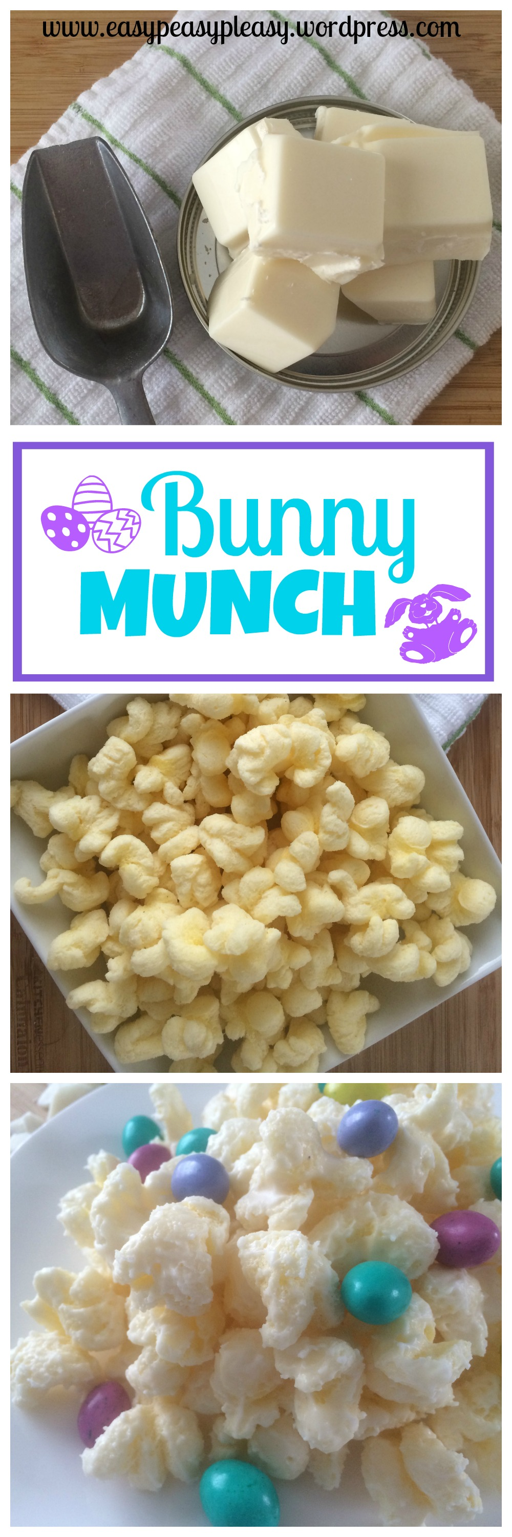 Easy 3 Ingredient Bunny Munch! Check out the recipe at https://easypeasypleasy.com