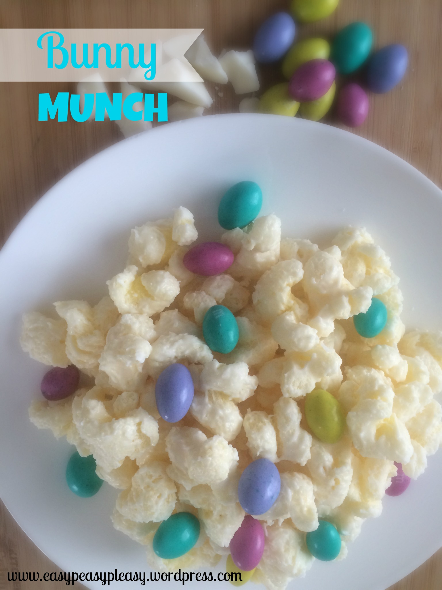 Easy 3 Ingredient Bunny Munch recipe at https://easypeasypleasy.com
