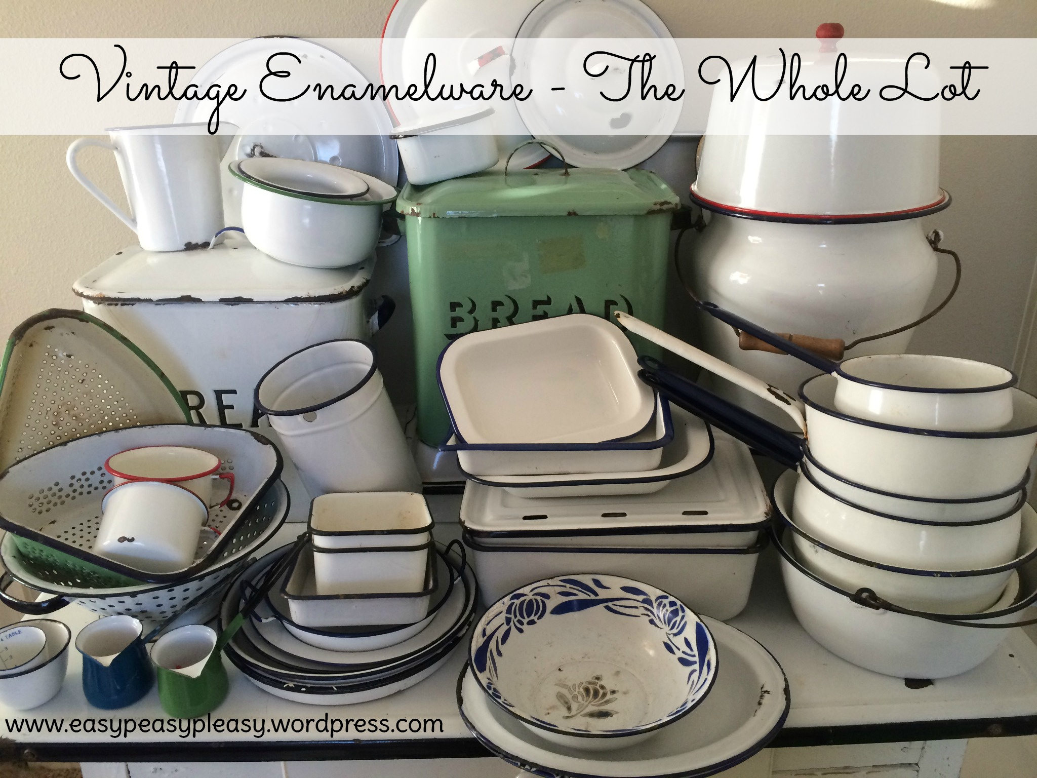 Find out how I upcycle all these Vintage Enamelware pieces at https://easypeasypleasy.com.com