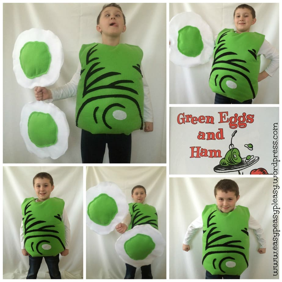 Green Eggs and Ham Costume Dr. Seuss Sam I am collage. Check out https://easypeasypleasy.com for the full tutorial!