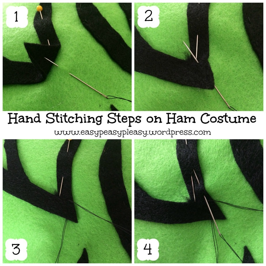 Hand Stitching Steps on Ham Costume Dr. Seuss Sam I Am Green Eggs and Ham Collage