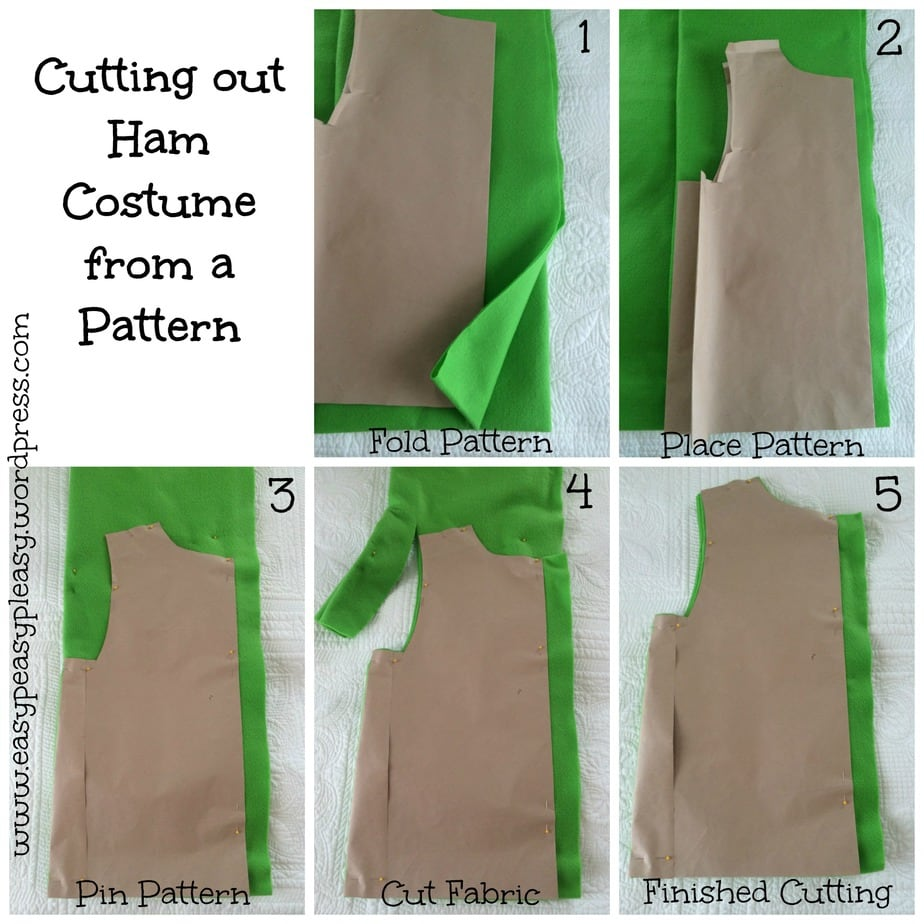 How to cut out Ham costume from a pattern collage. Dr. Seuss Sam I am's Green Eggs and Ham