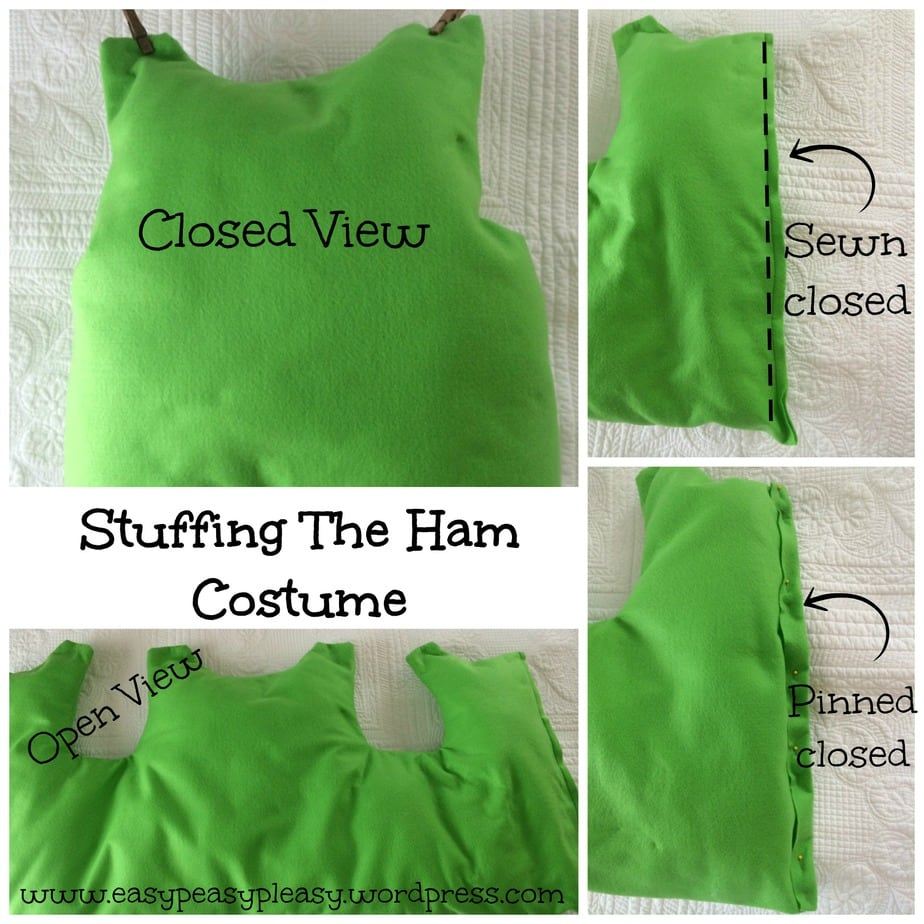 How to stuff the Ham Costume for Dr. Seuss Sam I Am Green Eggs and Ham collage