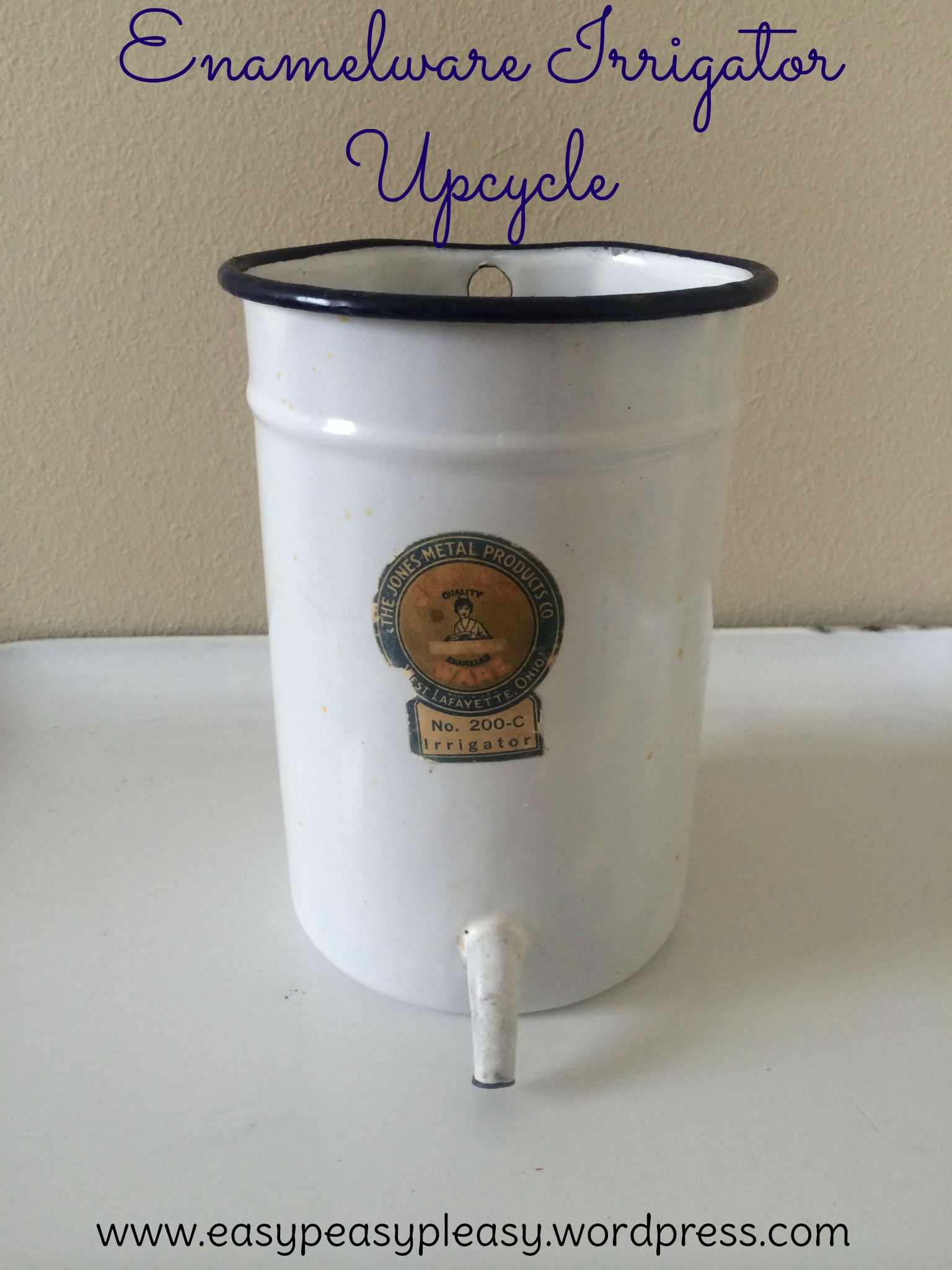 How to upcycle a Vintage Enamelware Irrigator at https://easypeasypleasy.com