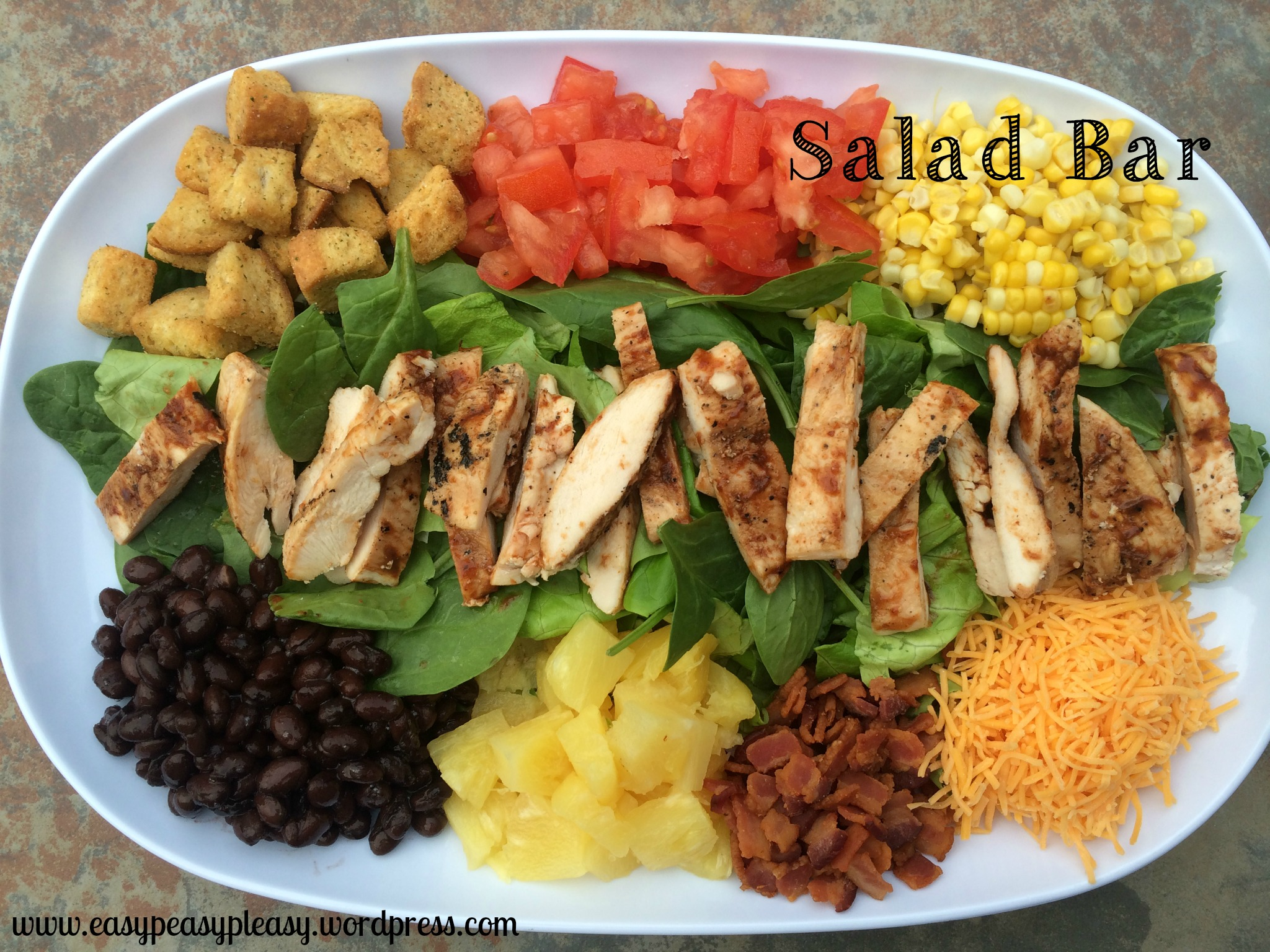 Salad Bar on a platter at https://easypeasypleasy.com