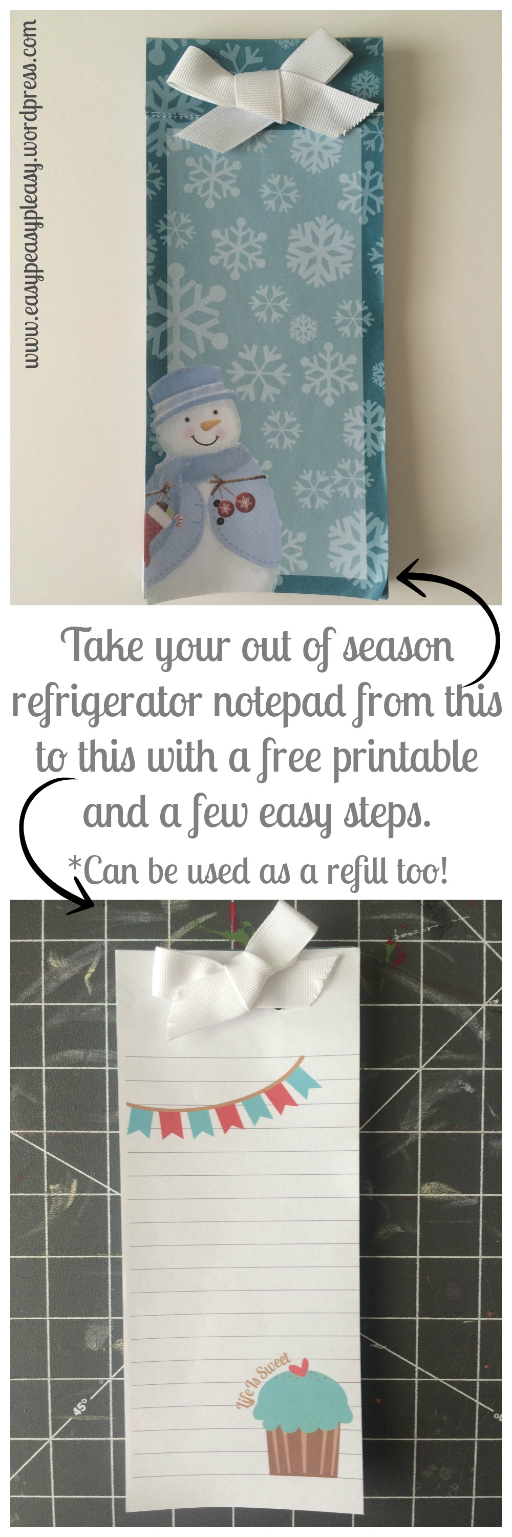 Take your out of season refrigerator notepad from this to this with a free printable and a few easy steps at https://easypeasypleasy.com