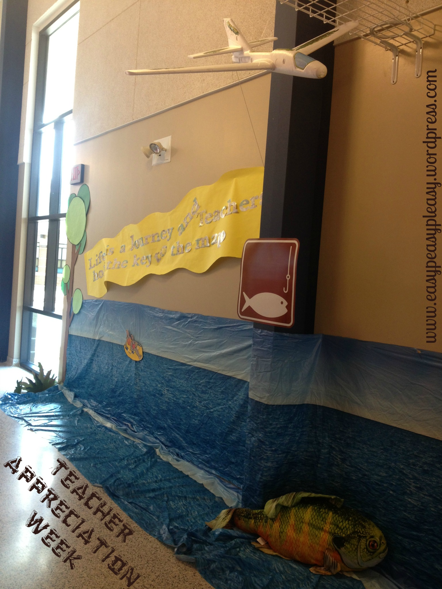 Teacher Appreciation Camping Theme with and airplane pulling a banner