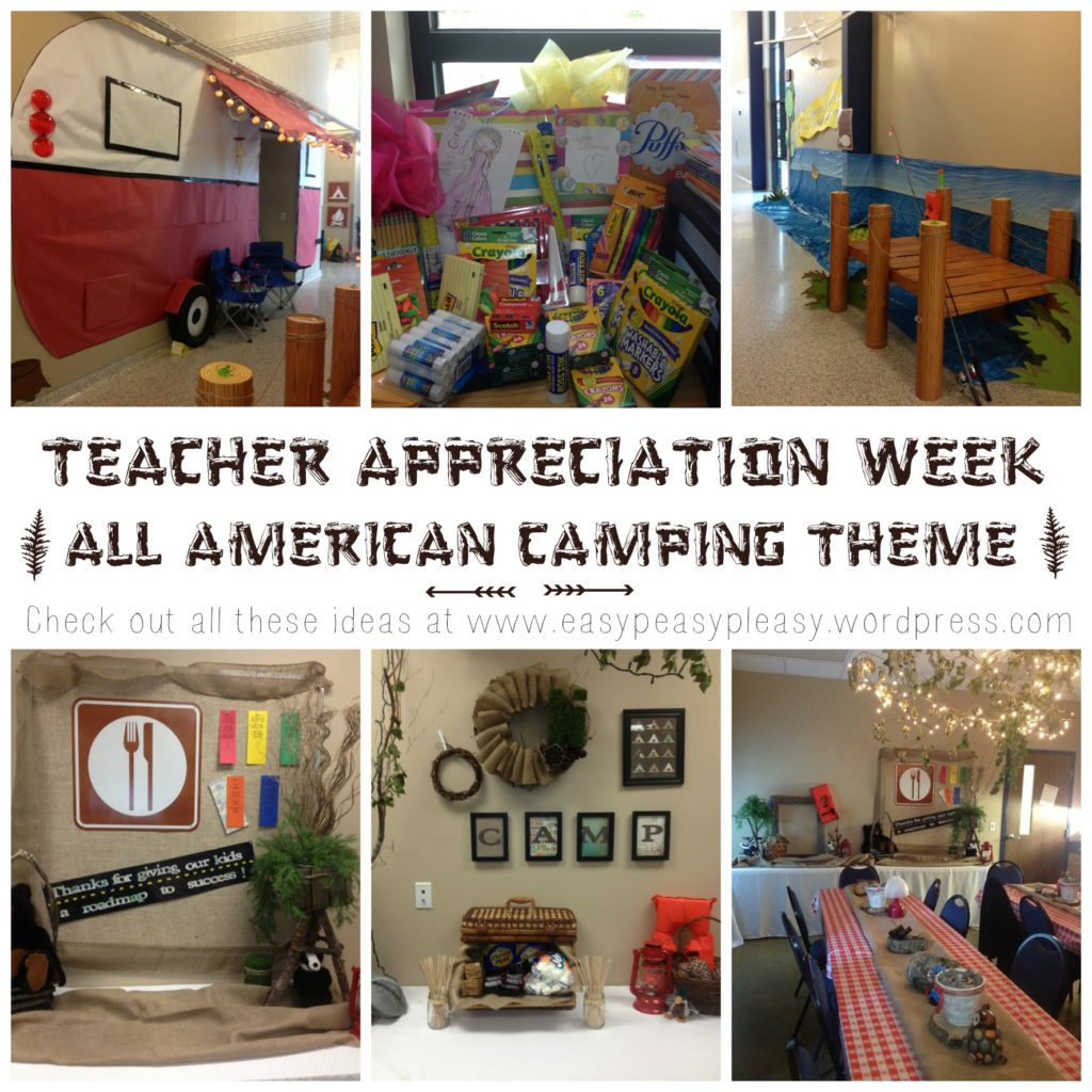 Teacher Appreciation Week All American Camping Theme PTO ideas at www.easypeasypleasy.com