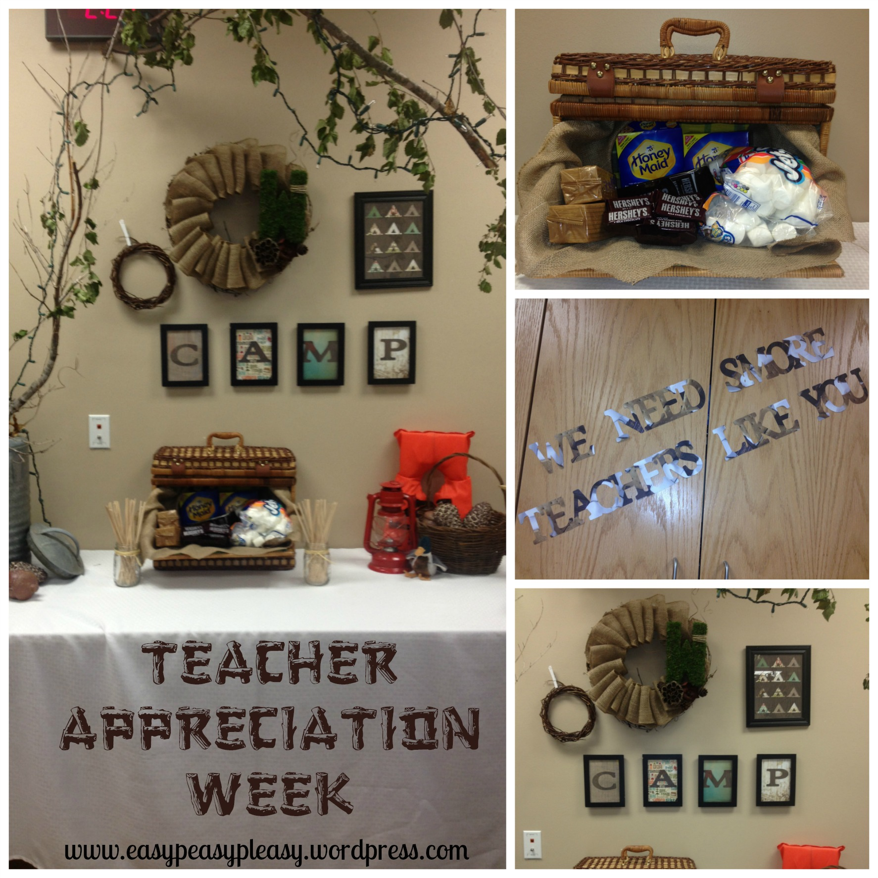 Teacher Appreciation Week Camping Theme Teacher's Lounge Makeover Ideas at https://easypeasypleasy.com