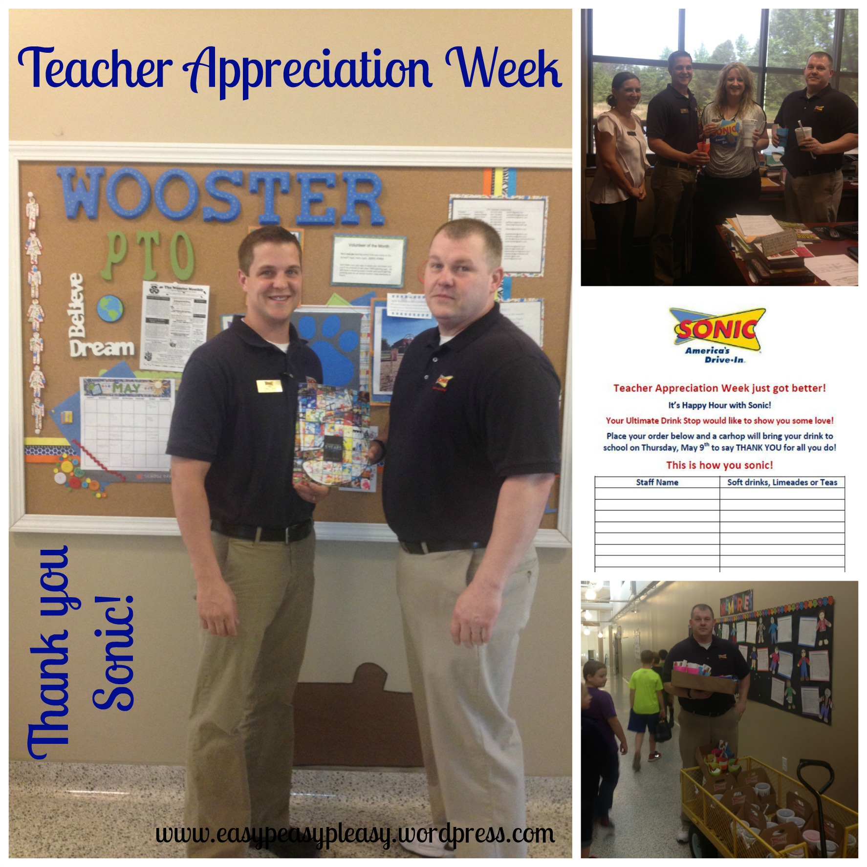 Teacher Appreciation Week Sonic drink donation