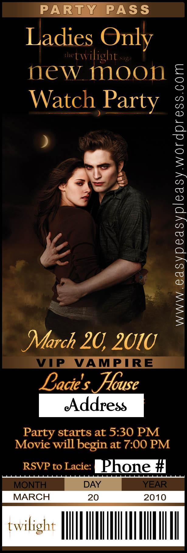 Twilight New Moon Party Invitation #TBT