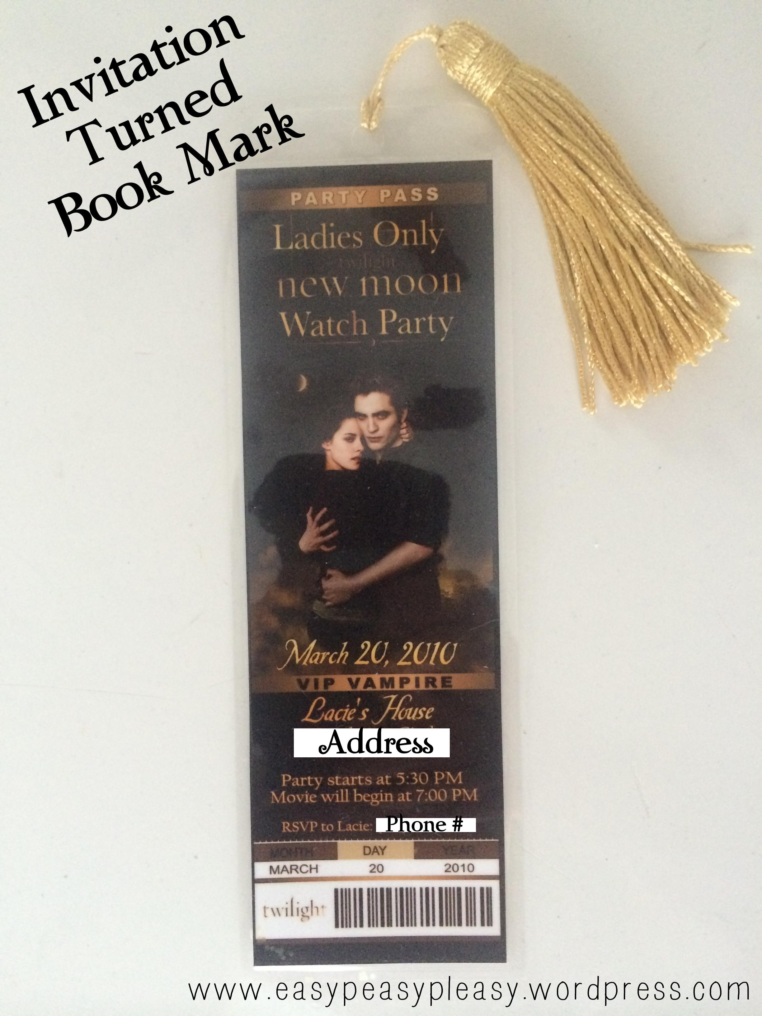 Twilight New Moon Party Invitation turned into a Book Mark 1