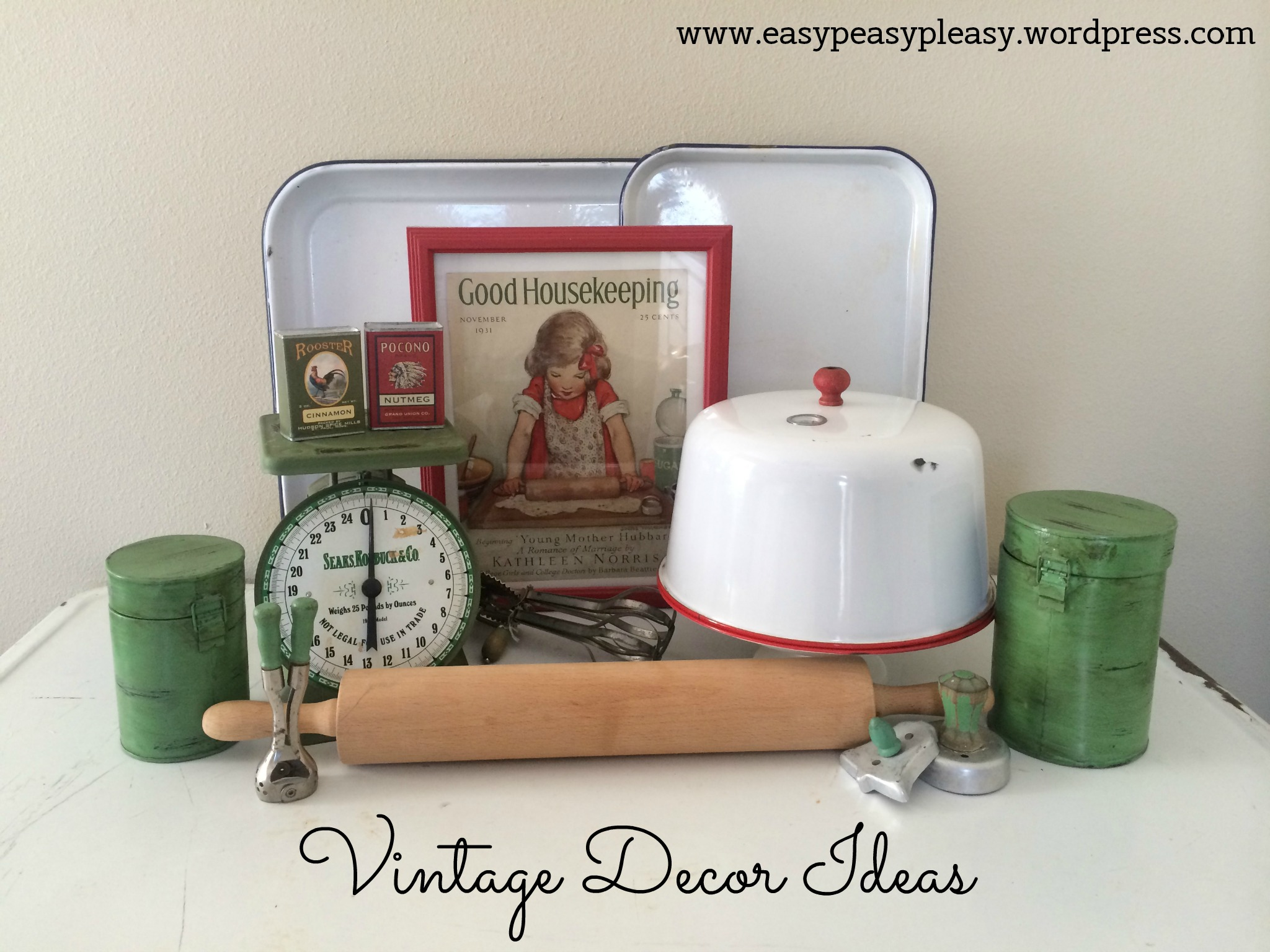 Vintage Decor Ideas for the kitchen using enamelware at https://easypeasypleasy.com