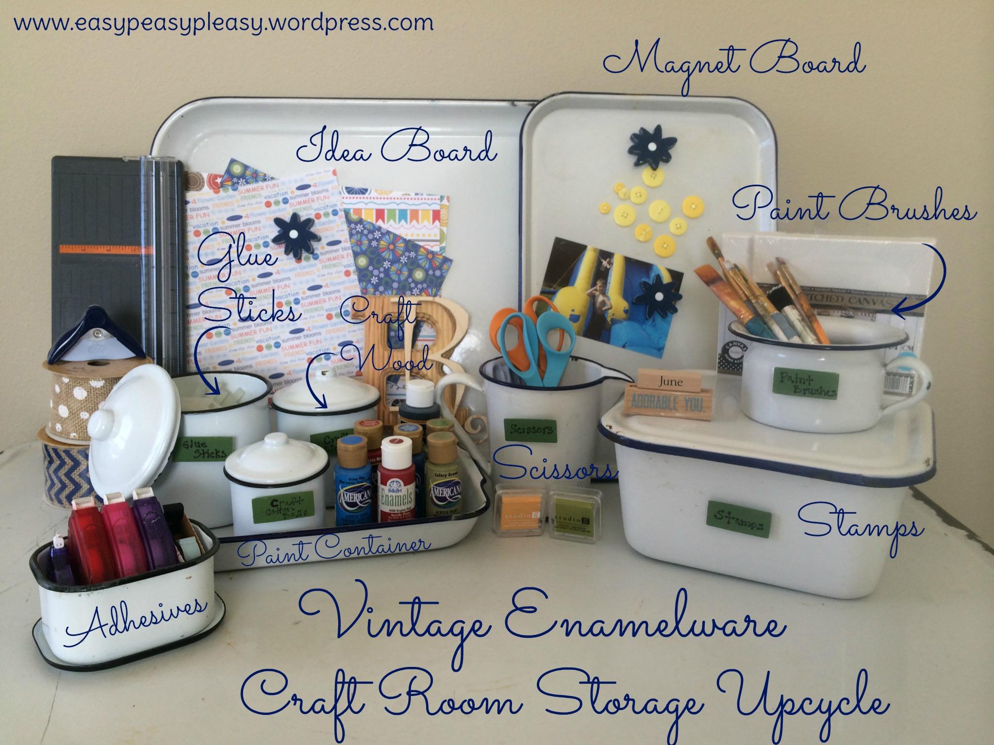 Vintage Enamelware Craft Room Storage Upcycle Ideas at www.easypeasypleasy.wordpress