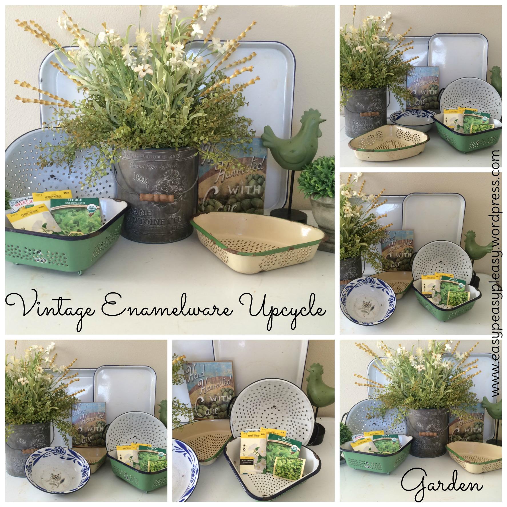 Vintage Enamelware Garden Upcycle Ideas at https://easypeasypleasy.com