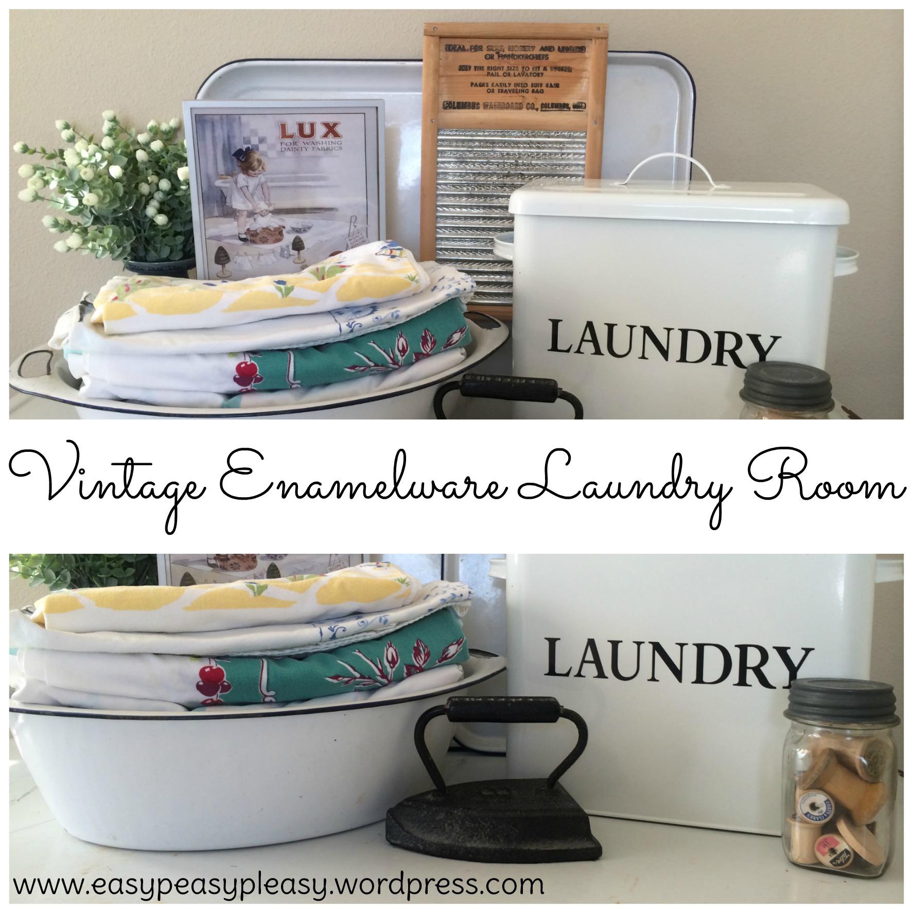 Vintage Enamelware Laundry Room Upcycle Ideas at https://easypeasypleasy.com