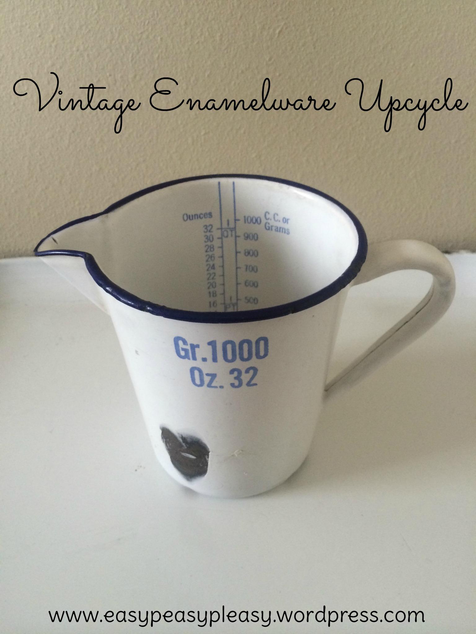 Vintage Enamelware Medical Measuring Cup Upcycle at https://easypeasypleasy.com
