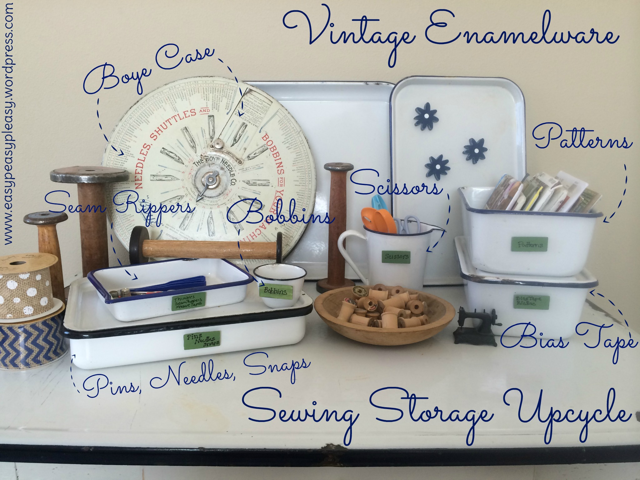 Vintage Enamelware Sewing Storage Upcycle Ideas at https://easypeasypleasy.com