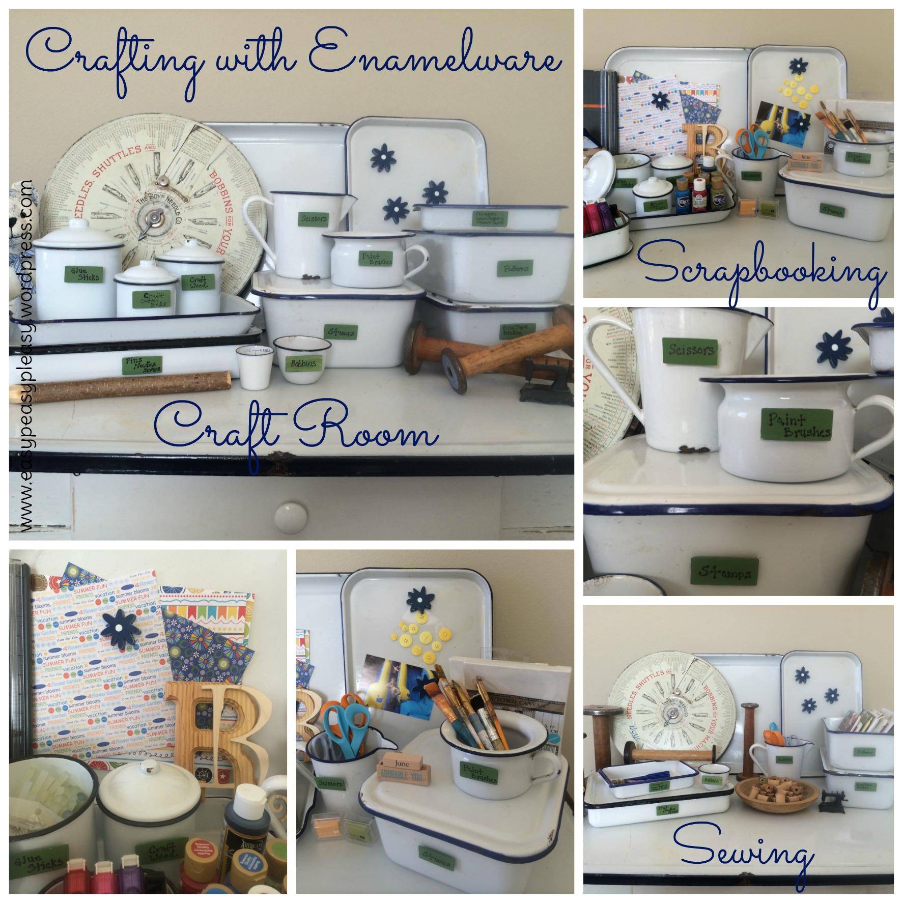 Vintage Enamelware Storage Ideas for the craft Room at https://easypeasypleasy.com