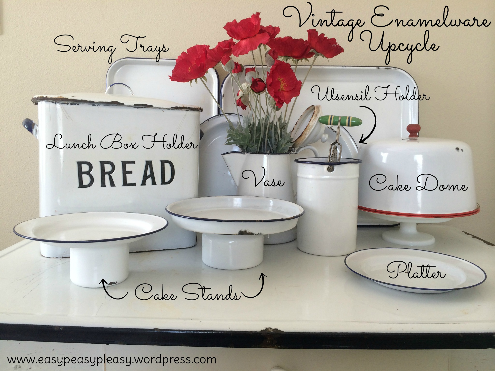 Vintage Enamelware Upcycle Ideas for the Kitchen-find out what these items really are at https://easypeasypleasy.com
