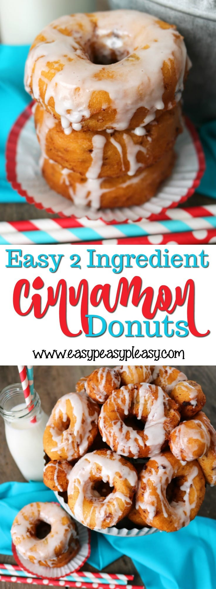 Donuts have never been easier to make than these 2 ingredient cinnamon donuts. This recipe will be a must have on your breakfast menu.