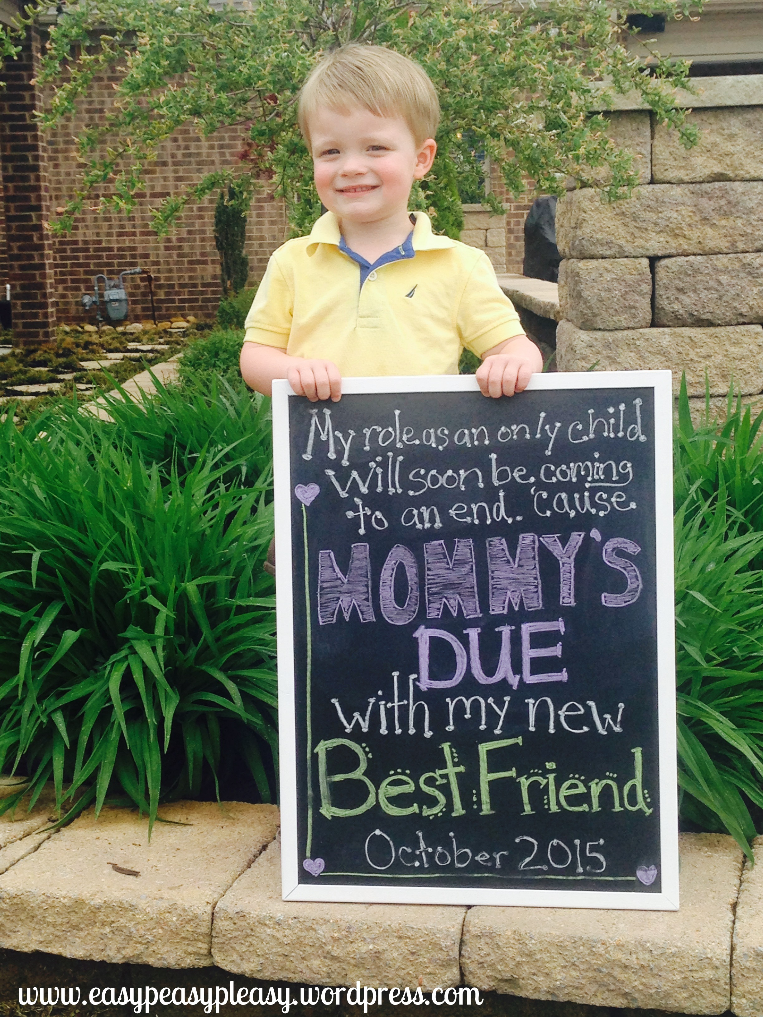 Brother Anouncing His Mommy Is Pregnant With A Diy Chalkboard Sign