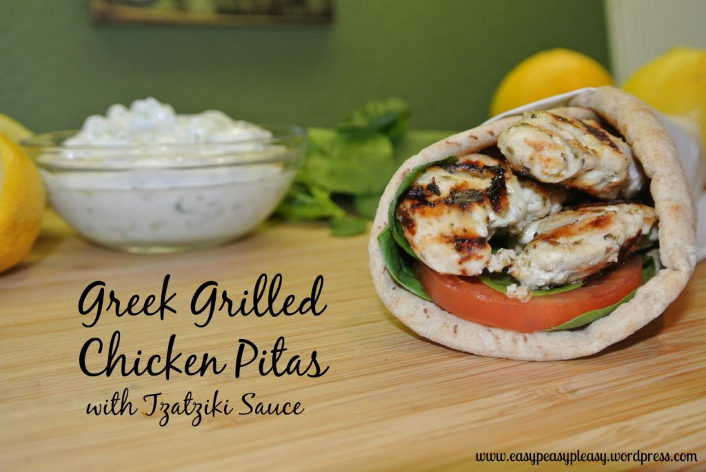 Easy Greek Grilled Chicken Pitas Recipe with Tzatziki Sauce