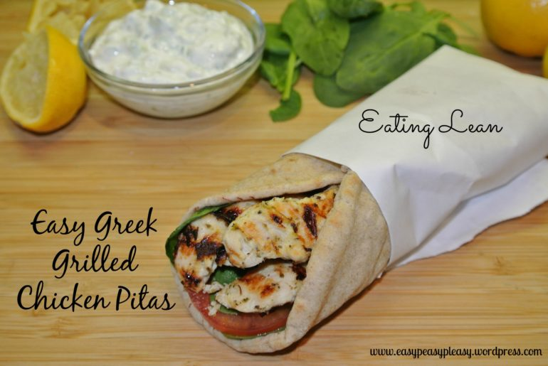 Easy Low Fat Greek Grilled Chicken Pitas with tzatziki sauce Recipe