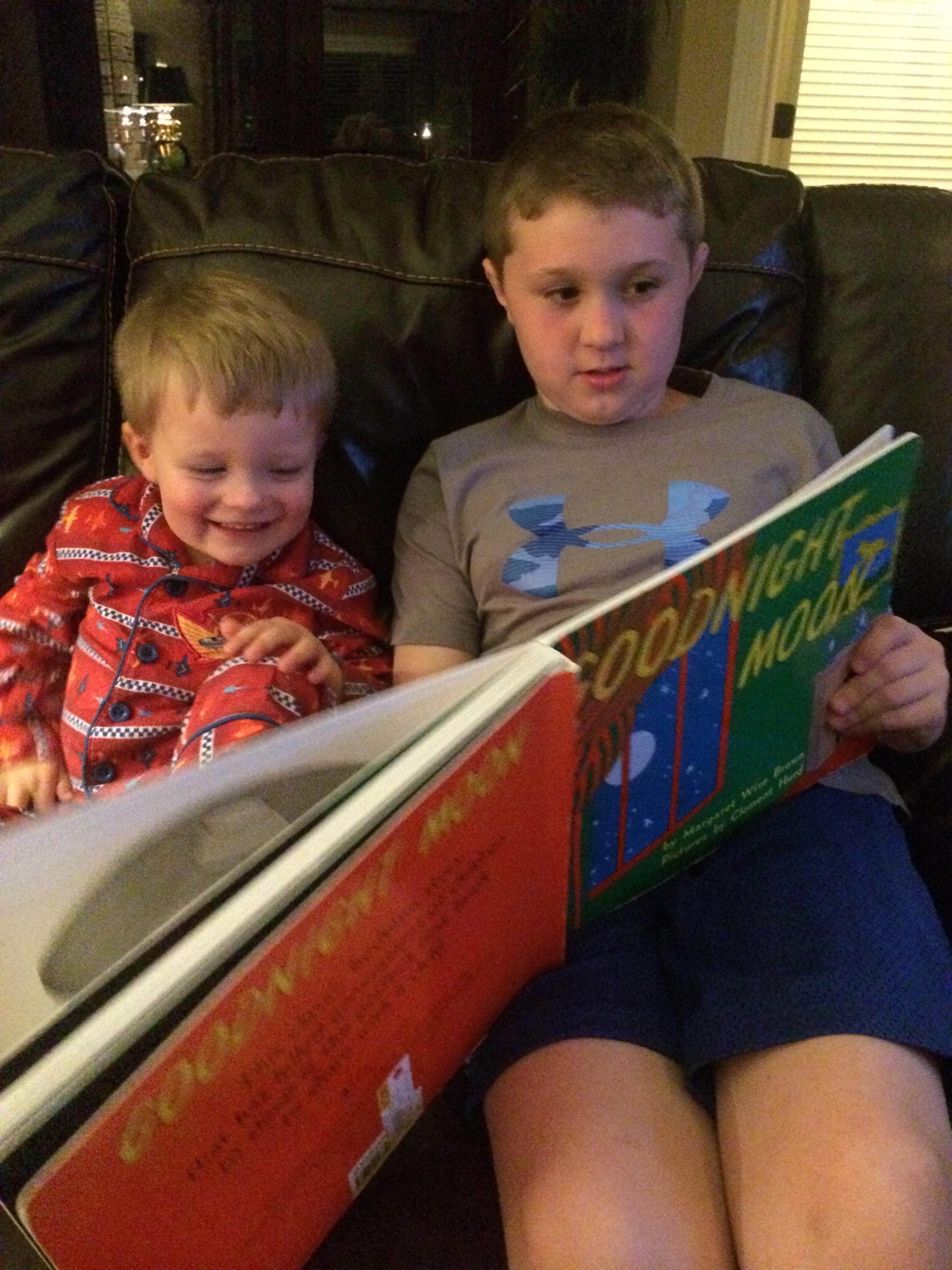 Garrett Reading Goodnight Moon to Garrett